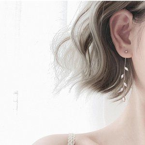 NEW Sterling Silver Diamond Leaf Drop Earrings